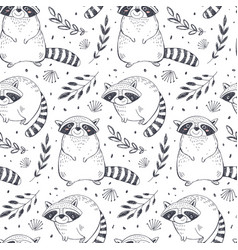 Seamless pattern with hand drawn raccoon vector