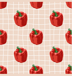 Seamless summer pattern with peppers on retro vector