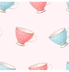 Seamless vintage teacups vector