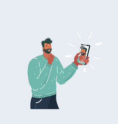 selfie man holding smartphone with self portrait vector image