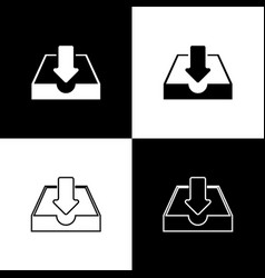 set download inbox icons isolated on black and vector image