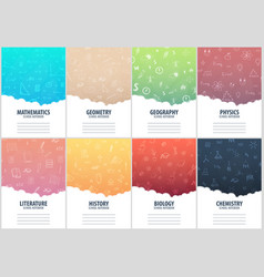 Set of banners school notebook template back to vector