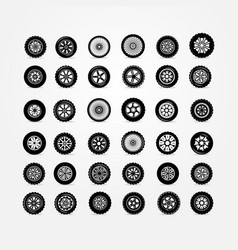 set of car wheels isolated on white background vector image