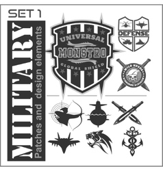 Set of military patches logos badges and design vector