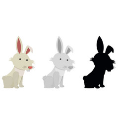 set of rabbits white background vector image