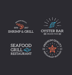 Set of retro vintage fish and seafood shrimp vector