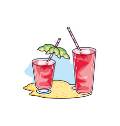 Set refresh juices in beach vector