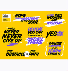 Set short positive quotes motivational cards vector