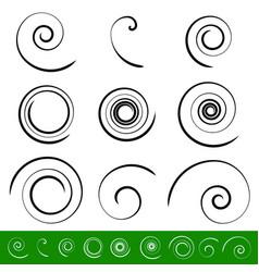 Spiral vortex element set 9 different circular vector