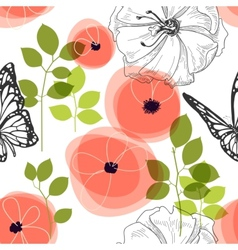 Spring seamless pattern flowers and butterfly vector