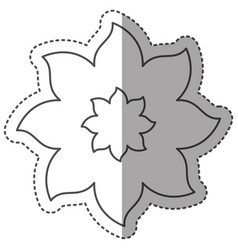 sticker monochrome contour with flower of eight vector image
