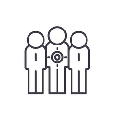 target audience line icon concept target audience vector image