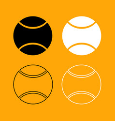 tennis ball set black and white icon vector image