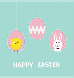 three painting egg shell happy easter text vector image