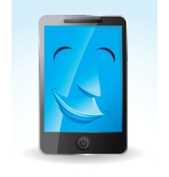 touch screen phone smiling vector image