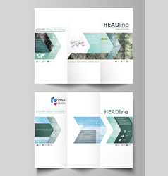 tri-fold brochure templates on both sides vector image