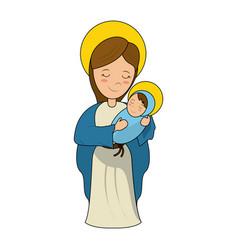 Virgin mary holding baby jesus cartoon vector