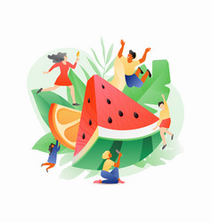 Watermelon and tiny people vector