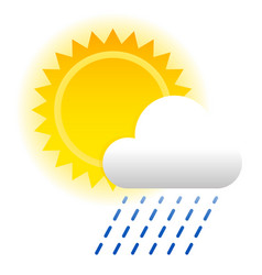 Weather composition with sun and cloud sun symbol vector