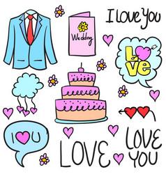wedding object doodles vector image
