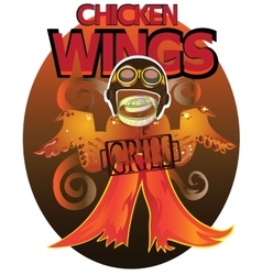 Wings Grill for lovers of fried chicken vector