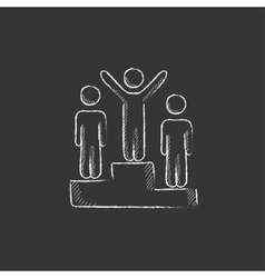 Winners on podium Drawn in chalk icon vector