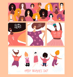 Womens day cards set vector