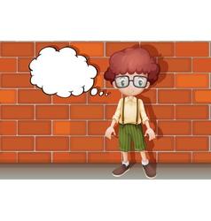 a boy thinking near wall vector image vector image