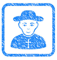 Christian priest framed stamp vector