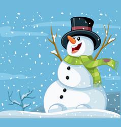 happy snowman winter cartoon vector image vector image