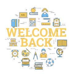 round concept with icons - welcome back vector image vector image