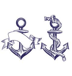 anchor sign set symbol hand drawn vector image
