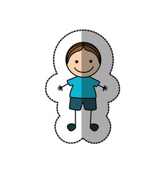 boy happy with brown hair icon vector image