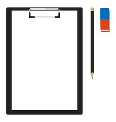 Clipboard with pencil and eraser vector image vector image