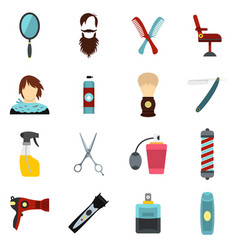 hairdressing set flat icons vector image