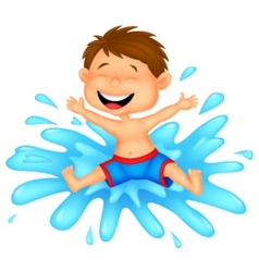 Boy cartoon jumping into the water vector image