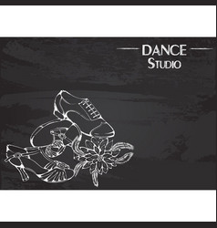 dance line chalk ballroom latina shoes vector image