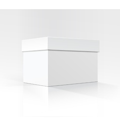 White horizontal box in perspective on background vector