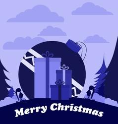 Christmas elves with huge ball and three big gifts vector image