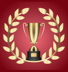 gold trophy for victory and laurel branch isolated vector image vector image