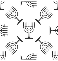 Hanukkah menorah icon pattern on white background vector image