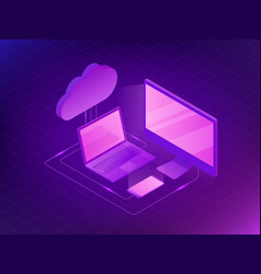 isometric cloud storage concept computer laptop vector image vector image