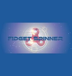 Rotating fidget finger spinner web banner with vector
