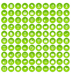 100 mail icons set green circle vector