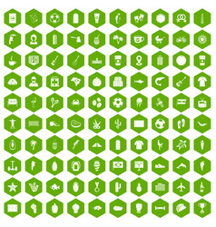 100 south america icons hexagon green vector image