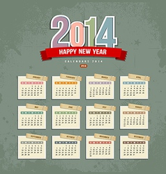 2014 Calendar paper design vector image