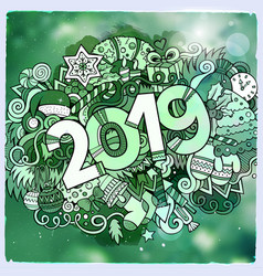 2019 year hand lettering and doodles elements vector image