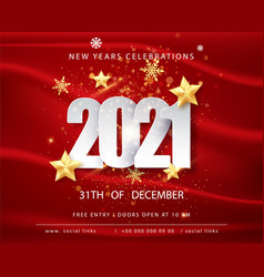 2021 happy new year greeting card with confetti vector image