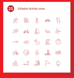 25 activity icons vector
