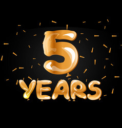5 years anniversary celebration greeting card vector